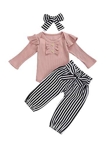 Peuter Baby Meisjes Kleding Sets Lange Mouwen Ruche Effen Romper Tops Bloemen Broek Hoofdband 3 Stks Kids Meisje Herfst Outfits