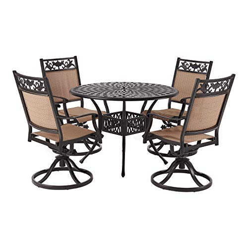 Laurel Canyon Outdoor Dining Set, 5 Piece Cast Aluminum Furniture, 4 Patio Swivel Chairs, 42' Round Table with 1.97' Umbrella Hole for Yard Garden Deck, Dark Brown