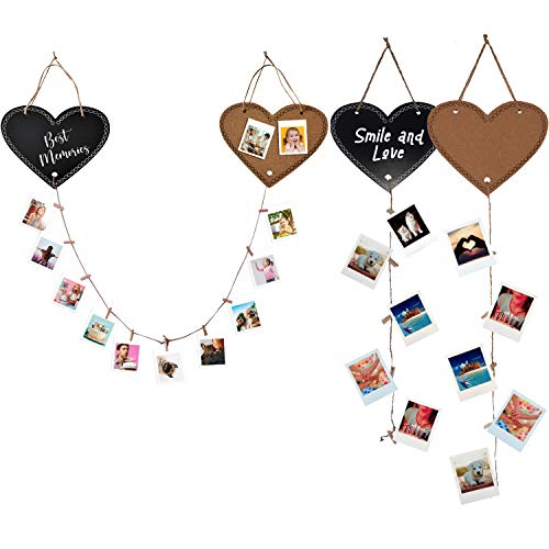 PERALMA Lovely Boards - Portafoto da Parete Multiplo Love, Bacheca Decorativa in Legno e Sughero a Forma di Cuore, Cornice portafoto con spago, puntine e mollette