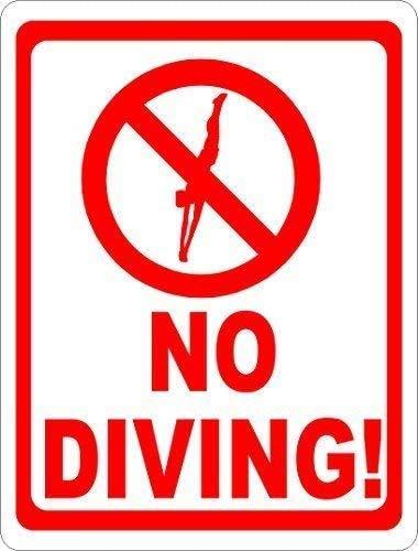 "DKISEE Blechschild aus Aluminium mit Symbol ""No Diving Pool"", 25,4 x 35,6 cm"