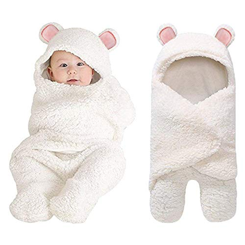 XMWEALTHY Baby Swaddle Blankets Plush Bear Swaddling Wraps Baby Clothes for 0-6 Newborn Months Girls Boys Ideal Baby Registry Pink