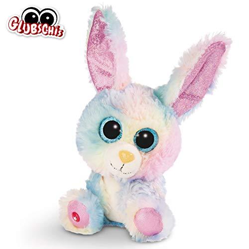 NICI Glubschis: Das Original – Glubschis Hase Rainbow Candy 15 cm – Kuscheltier Hase mit großen Augen – Flauschiges Plüschtier mit großen Glitzeraugen – Schmusetier für Kuscheltierliebhaber – 45561