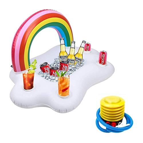 T-XYD Aufblasbarer Getränkekühler Rainbow Cloud Float Getränkehalter Bierbecher Flaschenhalter mit Pumpe für Summer Beach Schwimmbad