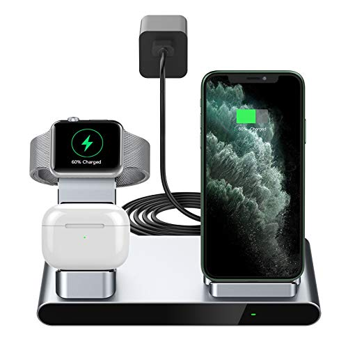 Yootech 3 in 1 Fast Wireless Charger,Innovative Metal Wireless Charging Station with Adapter, 7.5W Compatible with iPhone SE 2020/11/XS Max/8,2.5W for AirPods Pro,Apple Watch(No iWatch Charging Cable)
