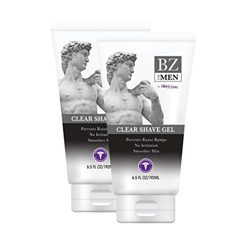 BZ for Men Clear Shave Gel - Prevents Nicks, Irritation & Itchiness - Softens Coarse Hair for a Smooth Shave - Non Razor Clogging & Moisturizing for Face and Body (6.5 oz, Pack of 2)