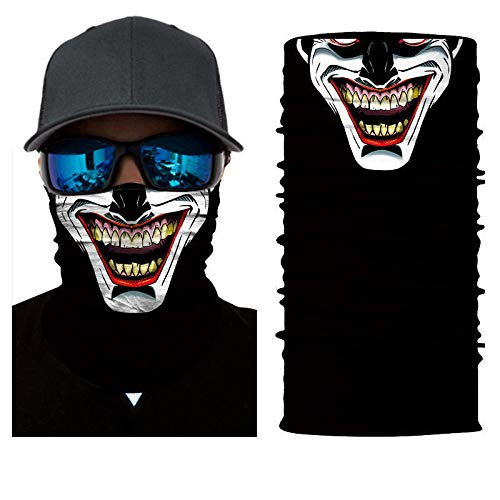 unbrand Camo Face Mask Breathable Seamless Tube Dust-Proof Windproof UV Bicycle ATV Face Mask for Motorcycling Cycling Hiking Camping Climbing Fishing Hunting (Clown Weird Laughing)