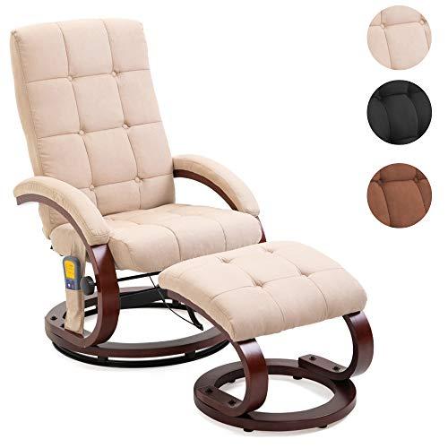 Mingone Massagesessel 8 Schwingmassagepunkte Relaxsessel Fernsehsessel mit Heizfunktion (Creme)