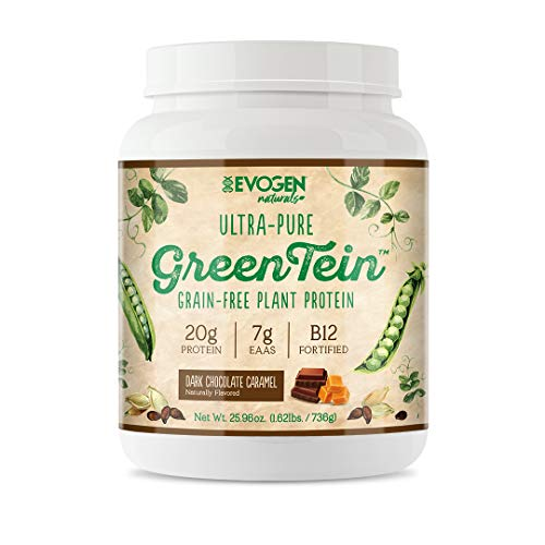 Evogen GreenTein, Grain-Free Plant Protein, Dark Chocolate Caramel, 736g