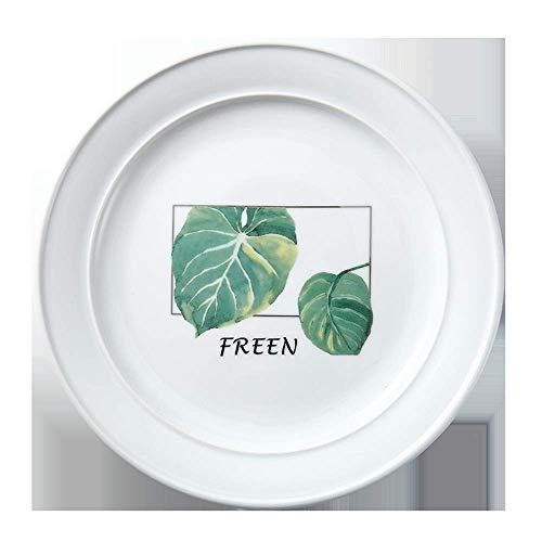 COOLSHOPY Placa de cerámica Vajilla Verde Nórdica Inicio cerámica Placa de Ensalada del Restaurante Steak Plate 22.9X2.4Cm Plato