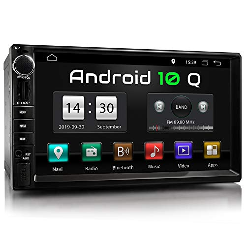 XOMAX XM-2VA757 Autoradio con Android 10 I Quad Core, 2GB RAM, 32GB ROM I Navigatore GPS I Supporto WIFI, 4G, DAB, OBD2 I Bluetooth I Touch Screen 7   I USB, SD, AUX, RDS I 2 DIN