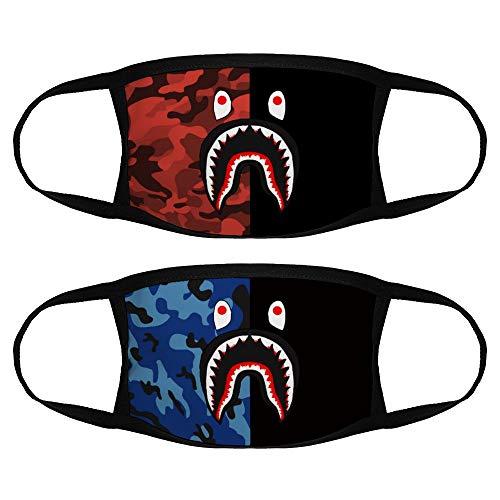 Bape Blood Shark 2PCS Face Cover Fashion Reusable Washable Anti-Dust Face Scarf for Men/Women
