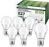 Bombilla LED E27, 9 W, 800 lúmenes, repuesto para halógenos de 60 W, 3000 K, luz blanca cálida, A60, 220-240 V CA, 6 unidades