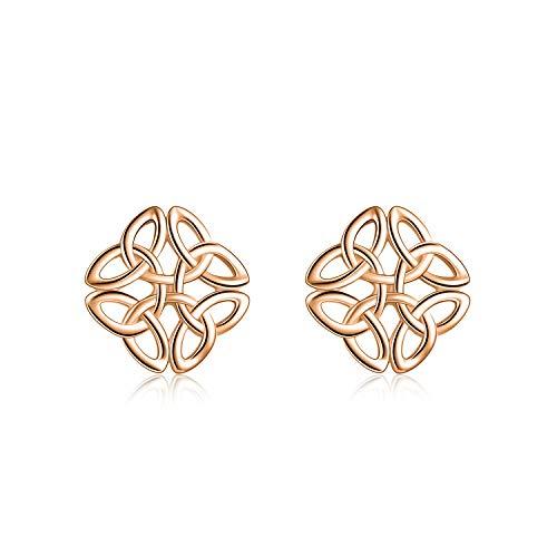 Rose Gold Plated Celtic Knot Earrings Sterling Silver for Women Celtic Stud Earrings Irish Jewelry for Girls Hypoallergenic (rose gold)