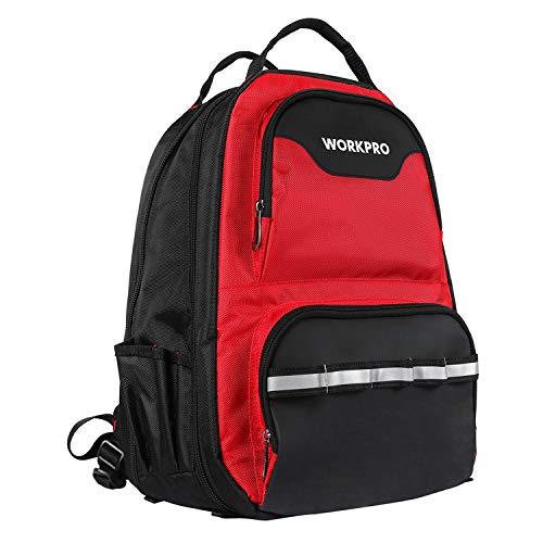 WORKPRO Werkzeugtasche Rucksack Backpack für Werkzeug Laptop mit wasserdichter Schutzboden atmungsaktive Polsterung mit stabiler Teleskopgriff robustes Denier Nylon (Farbe: Schwarz Rot)