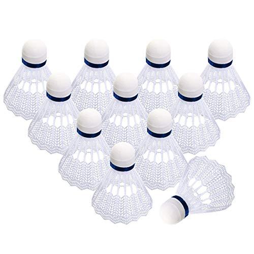 O-Kinee Badminton Federball,12 Stück Weiß Federbälle,Premium Nylon Badminton Set,Speed-bälle mit Hoher Stabilität und Haltbarkeit Für Indoor&Outdoor Training, Unterhaltung Bewegung Badmintonbälle