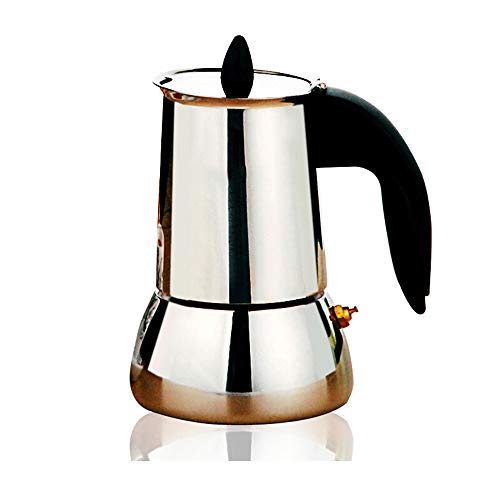Best Buy! Moka Coffee Maker Coffee Maker Espresso Homemade Coffee Utensils Mocha Pot Espresso Maker Moka Pot (Color : Silver, Size : 4 cup)