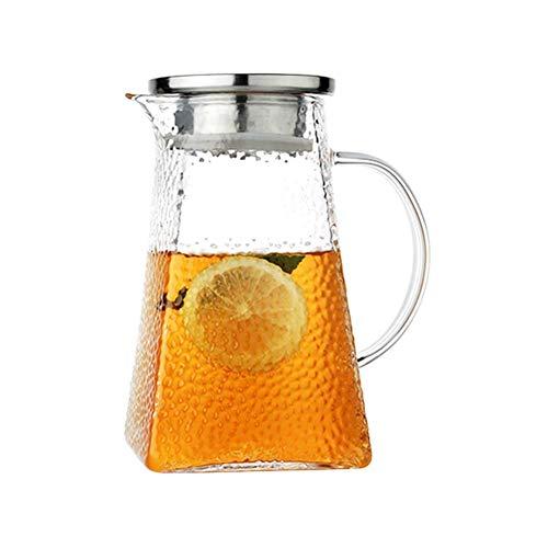 HJYSQX Jarra de Vidrio de 1800 ml Jarra Gruesa Simple de Gran Capacidad sin Goteo para Bebidas Calientes o heladas Botella de Grado Premium para té de Flores (Tamaño: 1200 ml)