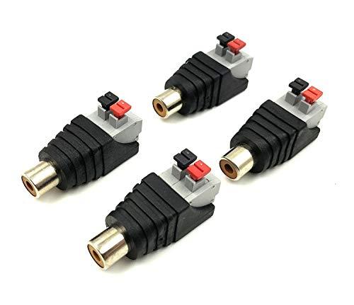 Poyiccot Speaker Phono RCA Female to AV 2 Screw Terminal Female Video Audio Spring Press Type Balun for CCTV(4-Pack) (RCA Female)