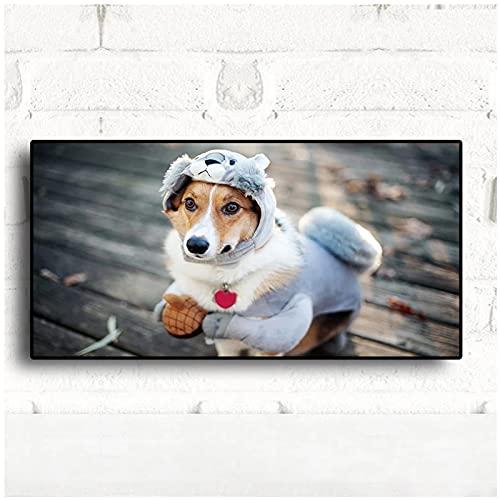 WANGXIAO Moderno HD Divertido Ropa de Cachorro Disfraz Carteles e Impresiones para Perros Pintura de Animales Cuadro de Pared para Sala de Estar para nios (70x100cm) Sin Marco