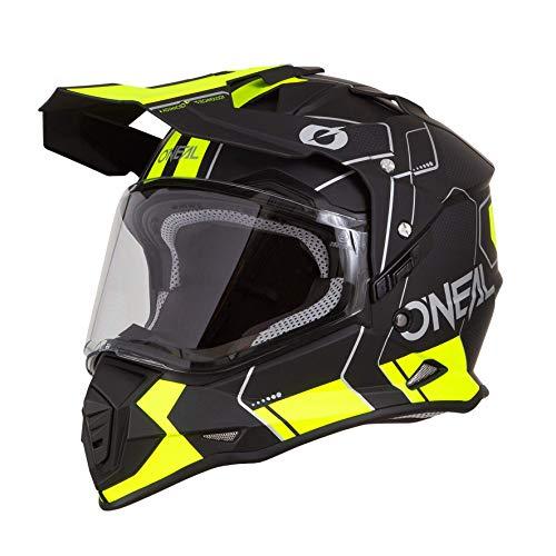 O'NEAL | Casco de Motocicleta | Moto de Enduro | Carcasa ABS, Visera Solar integrada | Peine de Casco Sierra | Adultos | Negro Amarillo Neón | Talla L (59/60 cm)
