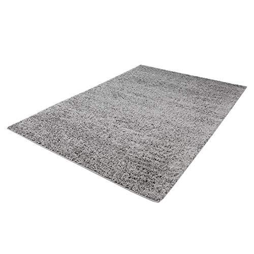 Taracarpet Shaggy Teppich Hochflor Langflor Teppiche fürs Wohnzimmer und Schlafzimmer geeignet sowie für die Küche und Kinderzimmer Ökotex 100 Zertifiziert (150x150 cm quadratisch, Silber grau)