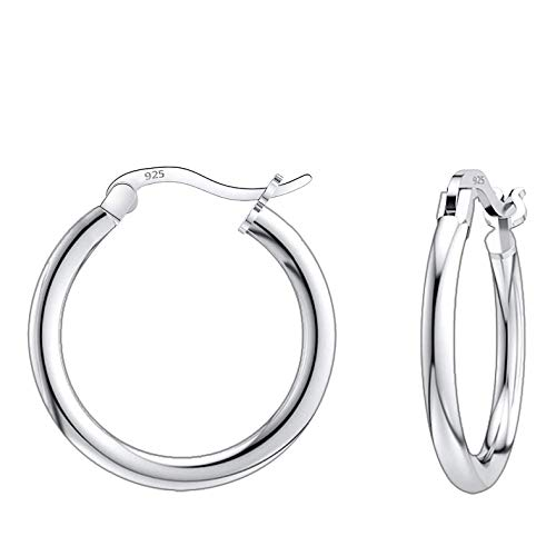Savlano 925 Sterling silver Round Hoop Earrings for Women, Girls & Men Comes in 10MM-25MM (18)