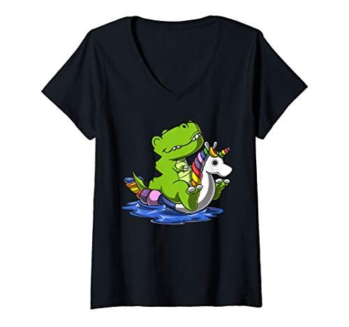 Damen T-Rex Dinosaurier Auf Einhorn Schwimmtier Floß Pool Party T-Shirt mit V-Ausschnitt