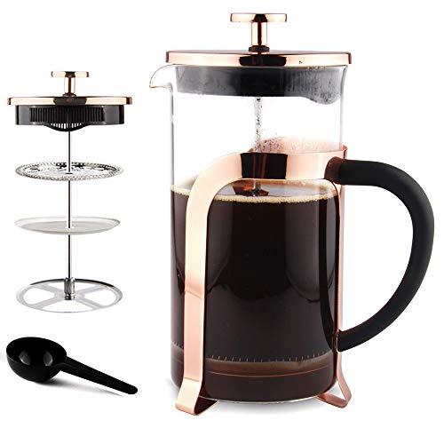 Sivaphe Kaffeebereiter Glas mit Edelstahlfilter, Französische Presse Teepresse Kaffeepresse French Press 1,0 liters 4 Tassen mit Löffel Gold -MEHRWEG
