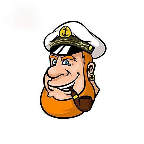 BLOUR Etiqueta engomada del Coche de Dibujos Animados capitán Divertido Impermeable Personalidad Adecuada para Ventana de la Motocicleta Etiqueta engomada del rasguño PVC, 13 cm x 8,8 cm