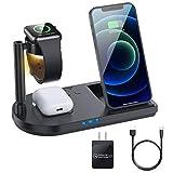 Senshin ワイヤレス充電器 4 in 1 充電器 【QI認証済み】 iPhone 12対応 QC3.0 18Wアダプター付き LEDベッドライト 15W/10W/7.5W/5W コンパクト 置くだけ充電 For iPhone 12 / 12 Pro / 12 Pro Max/ 12 Mini / 11 / 11 Pro / Pro Max / Galaxy S20 /S10 / S10+ / S9 / Note 10 / Apple AirPods 2 / AirPods Pro 対応 急速充電
