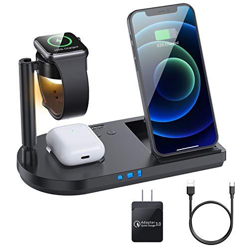 ワイヤレス充電器 4 in 1 充電器 【QI認証済み】 iPhone 12対応 QC3.0 18Wアダプター付き LEDベッドライト 15W/10W/7.5W/5W コンパクト 置くだけ充電 For iPhone 12 / 12 Pro / 12 Pro Max/ 12 Mini / 11 / 11 Pro / Pro Max / Galaxy S20 /S10 / S10+ / S9 / Note 10 / Apple AirPods 2 / AirPods Pro 対応 急速充電