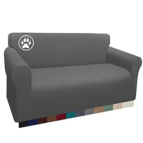 Luxurlife Dicker Zweisitzer-Sofabezug mit stilvollem Muster, Sofa-Schonbezug, Jacquard-Couchbezug für Wohnzimmer, Hund, Haustier-Möbelschutz (2-Sitzer, hellgrau)