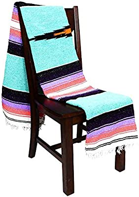 Open Road Goods Mint/Teal Heavyweight Diamond Mexican Navajo Yoga Blanket, Extra Thick Serape with Stripes