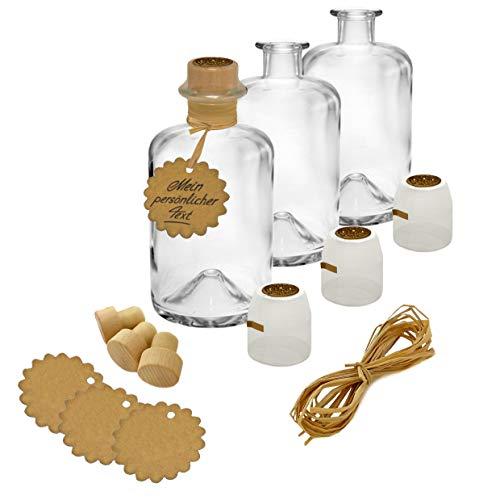 9x Apothekerflaschen leer Glas Flasche Geschenk Komplettset 500 ml Anhänger Kapsel Siegel gold Korken Bast zum selbst befüllen VERSAND INNERHALB 24 STD!