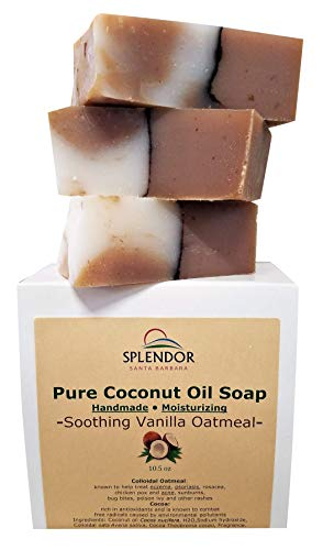 Splendor Soothing Vanilla Oatmeal Soap - Natural Coconut Oil Hand, Face & Body. Handmade, Vegan, Moisturizing, with Gluten-Free Oats and Antioxidant-Rich Cocoa.…