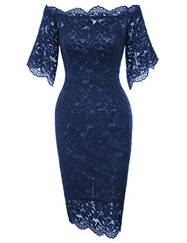 GRACE KARIN Women Retro Floral Lace Slim Evening Cocktail Dress XL Navy Blue