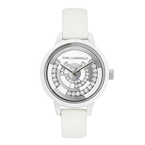 KARL LAGERFELD Women\'s White Petite Concentric Crystal Leather Strap Damenuhr, 26mm, Quarz - 5550203