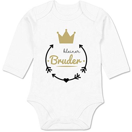 Shirtracer Geschwisterliebe Baby - Kleiner Bruder - Krone - 3/6 Monate - Weiß - Kleiner Bruder große Schwester Set - BZ30 - Baby Body Langarm