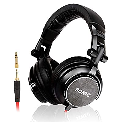 SOMiC Over Ear DJ Headphones for Monitor/HiFi Keyboard Guitar amp, Noise Canceling, Foldable Music DJ Headsets, with 3.5/6.5 MM plug (Black) from SOMIC