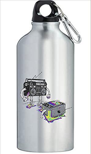 Venganza de la Radio Televisión Vintage Divertida Botella de Agua Acero Inoxidable Entrenamiento al Aire Libre Ciclismo Camping Gran Capacidad Plata 600ml