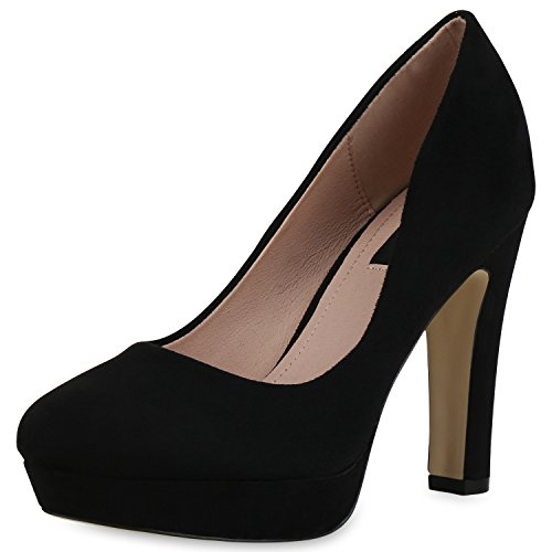 SCARPE VITA Damen Plateau Pumps Party High Heels Wildleder-Optik Abendschuhe 162780 Schwarz Velours 38