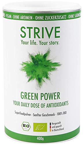 GREEN POWER Smoothie Pulver 100% BIO - Antioxidantien-Booster mit Bio Gerstengras, Acerola, Chlorella, Weizengras und weiteren Superfoods - Frei von Zusatzstoffen DE-ÖKO-039