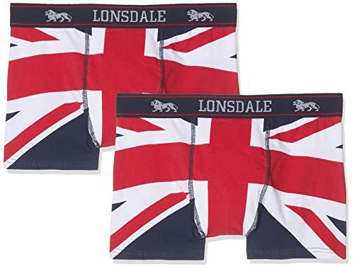 Lonsdale London Herren Tisbury Boxershorts, 2er Pack, Mehrfarbig (Navy/Red/White), XXL
