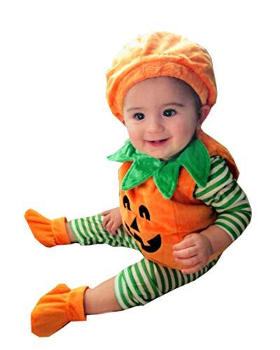 Carolilly 3 Pièces Ensemble Déguisement Halloween Nouveau-Né Bébé Fille Garçon Citrouille Costume Barboteuse Robe Chaussures Chapeau Tenue pour Bébé Unisexe 0-3 Ans (1-2 Ans)