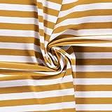 0,5m Jersey Ringel 10mm weiß-senf 034 95% Baumwolle 5%