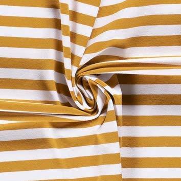 0,5m Jersey Ringel 10mm weiß-senf 034 95% Baumwolle 5% Elasthan Meterware 140cm breit Gewicht: ca. 200g/m2