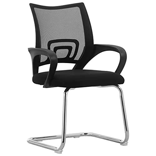 vidaXL Freischwinger Bürostuhl Schreibtischstuhl Besucherstuhl Konferenzstuhl Chefsessel Computerstuhl Stuhl Schwarz Netzgewebe Chrom