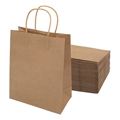 Gaoyong 20 Stück Papiertüten Braun 27*21*11CM,Papiertüten,Papiertüten mit Henkel,Geschenktüten,Kraftpapier Tüten (verdicken 130gsm)