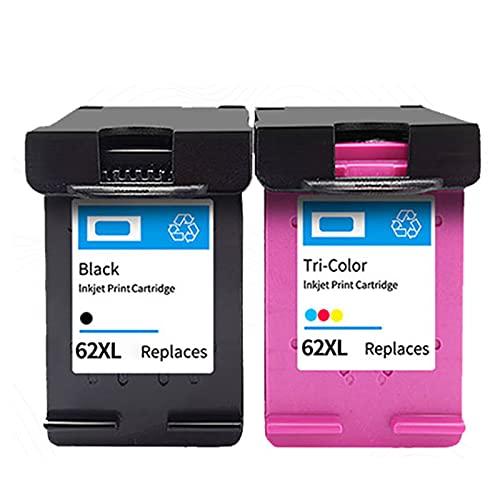 AZXC Reemplazo de Cartucho de Tinta Compatible para HP 62XL Trabajo para 200 258 5540 5542 5640 7640 5740 Impresora, Toner Trabajo de Alto Rendimiento con Chip Black+Color