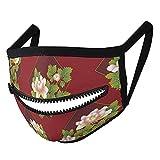 Máscara con un diseño de cremallera decorativa de la flor de la textura del arte de la máscara de tela abstracta reutilizable para hombres mujeres adultos cierre de cremallera